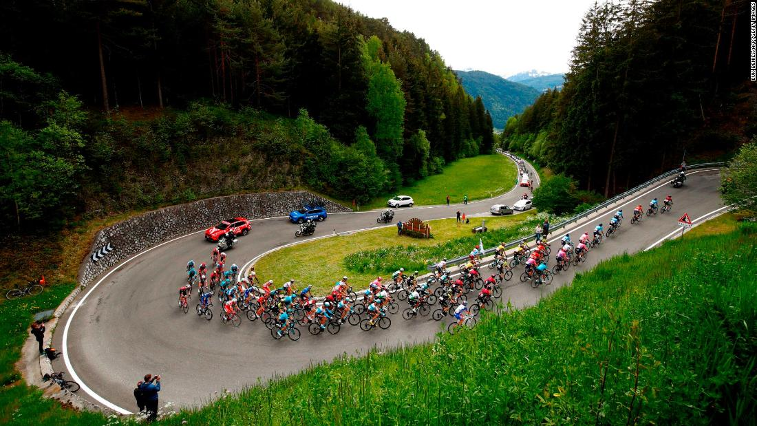 Cyclists ride during the stage seventeen of the 102nd Tour of Italy in Antholz, Italy on May 29.