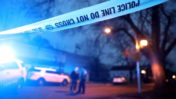 Chicago police work the scene of a shooting in the 6300 block of South Seeley Avenue on Saturday, April 6, 2019. (Chris Sweda/Chicago Tribune/TNS via Getty Images)