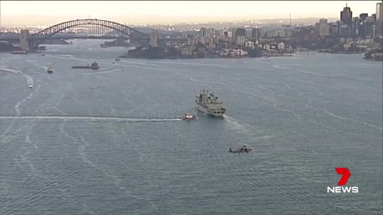 Chinese warships arriving in Sydney Harbor