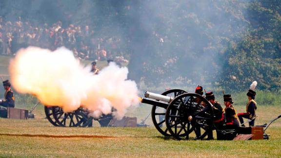 British Army troops fire a cannon in London
