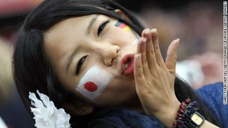 FRANKFURT AM MAIN, GERMANY - JULY 17:  A fan of Japan poses prior to the FIFA Women's World Cup Final match between Japan and USA at the FIFA World Cup stadium Frankfurt on July 17, 2011 in Frankfurt am Main, Germany.  (Photo by Christof Koepsel/Getty Images)