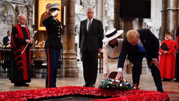 The Trumps are joined by Prince Andrew as they pay their respects at the Tomb of the Unknown Warrior in Westminster Abbey.