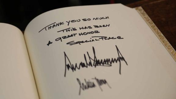 "The President signed the guestbook at Westminster Abbey. ""Thank you so much,"" his message said. ""This has been a great honor. Special place."""