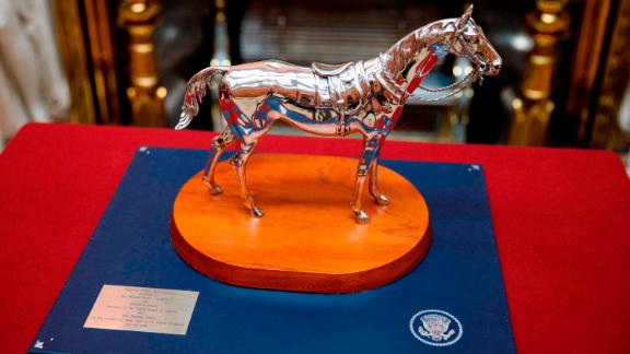 "Among the items on display was ""American Pewter Thoroughbred,"" a gift that Trump gave the Queen last year."