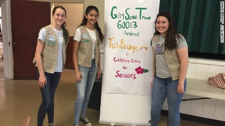Girl Scout Cadettes Sarah Middleton, left, Tara Udani, center, and Maura Sammis.
