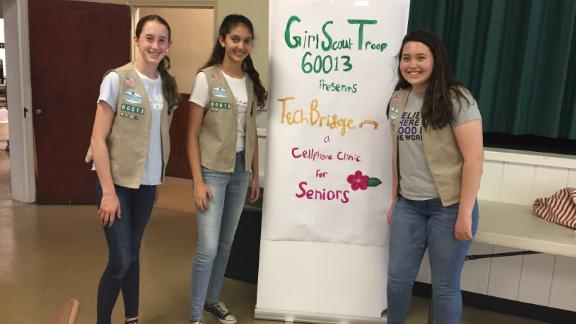Girl Scout Cadettes Sarah Middleton, left, Tara Udani, center, and Maura Sammis.