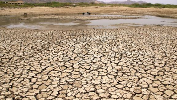 A general view of a lake running dry on a hot summer day near Ajmer on Sunday, June 2. Temperatures passed 50 degrees Celsius (122 degrees Fahrenheit) in northern India as an unrelenting heatwave triggered warnings of water shortages and heatstroke.