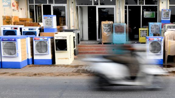 Air coolers are seen on display at a shop in Churu in Rajasthan on Monday, June 3.