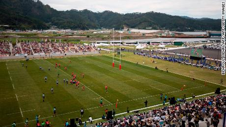 The Kamaishi Seawaves take on Yamaha Jubilo in the first game played at the Kamaishi Recovery Memorial stadium in August 2018.