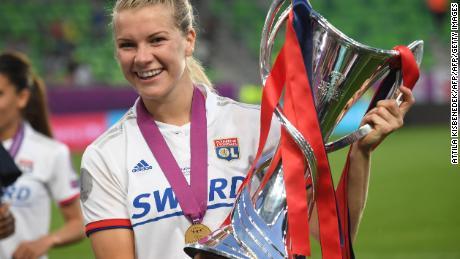 Ada Hegerberg celebrating Norway's UEFA Women's Champions League win.