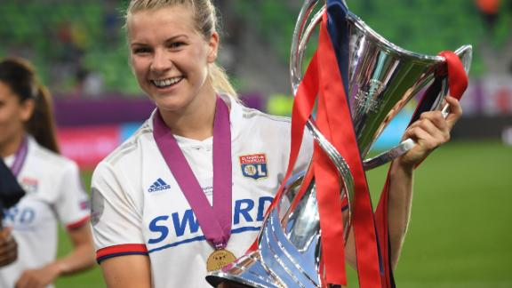 Ada Hegerberg celebrating Norway's UEFA Women's Champions League win.