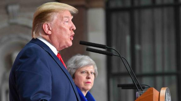 US President Donald Trump (L) and Britain's Prime Minister Theresa May give a joint press conference at the Foreign and Commonwealth office in London on June 4, 2019, on the second day of their three-day State Visit to the UK. - US President Donald Trump turns from pomp and ceremony to politics and business on Tuesday as he meets Prime Minister Theresa May on the second day of a state visit expected to be accompanied by mass protests. (Photo by MANDEL NGAN / AFP)        (Photo credit should read MANDEL NGAN/AFP/Getty Images)