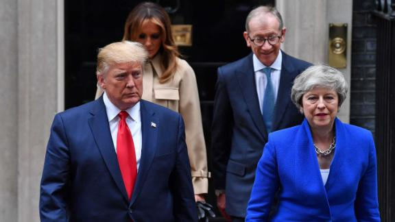 Trump and May are followed by their spouses as they make their way to the news conference in London on June 4. The President offered plenty of praise for May, who recently announced her resignation.