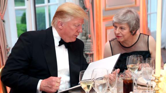 Trump and British Prime Minister Theresa May speak at the dinner on June 4.