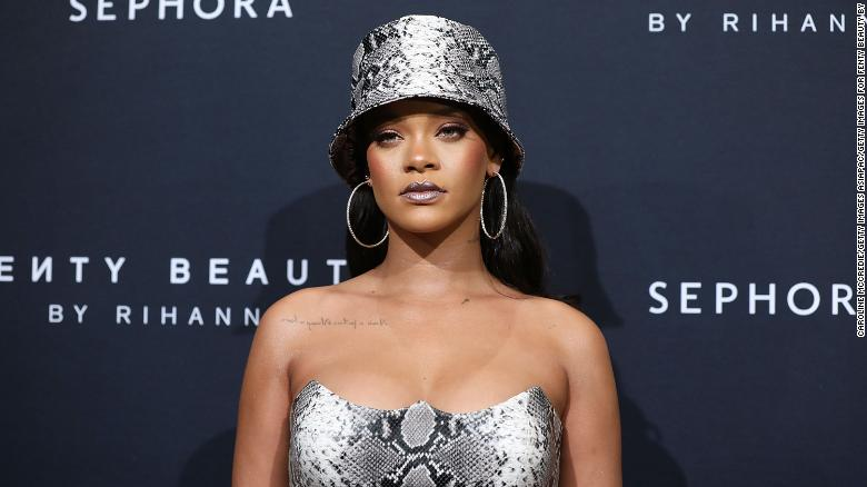 Rihanna attends the Fenty Beauty by Rihanna Anniversary Event in Sydney on October 3, 2018.