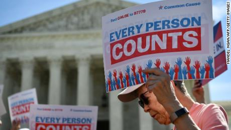 Demonstrators rally at the US Supreme Court in Washington, DC, on April 23, 2019, to protest a proposal to add a citizenship question in the 2020 Census. (Photo by MANDEL NGAN / AFP)