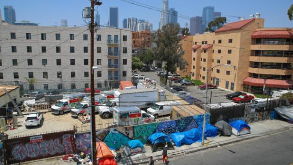 """LOS ANGELES, CA - MAY 30: British artist Chemical X unveils his controversial """"Skid Rodeo Drive"""" Initiative in the homeless ghetto of Skid Row May 30, 2019 in Los Angeles, California. (Photo by Ari Perilstein/Getty Images for Chemical X)"""