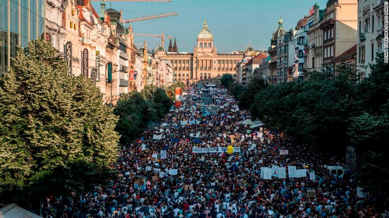 The rally in Prague demanded the resignation of Czech Prime Minister Andrej Babis.