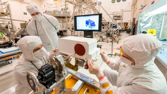 Engineers recently installed two Mastcam-Z high-definition cameras on the Mars 2020 rover.