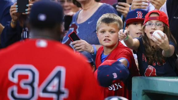 Boston fans ask for an autograph from 10× All-Star David Ortiz.