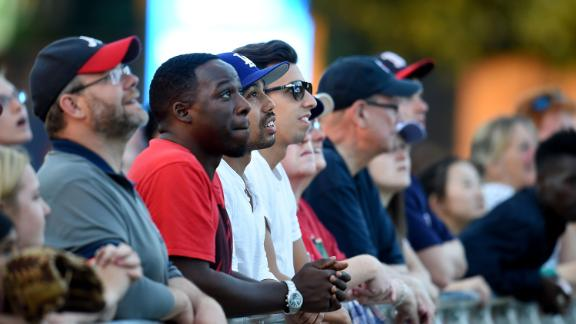 Fans watching the home run contest at Hyde Park in 2017.