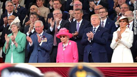 PORTSMOUTH, ENGLAND - JUNE 05: (Front row, L-R) British Prime Minister, Theresa May, Prince Charles, Prince of Wales, Queen Elizabeth II, President of the United States, Donald Trump and First Lady of the United States, Melania Trump attends the D-day 75 Commemorations on June 05, 2019 in Portsmouth, England. The political heads of 16 countries involved in World War II joined Her Majesty, The Queen is on the UK south coast for a service to commemorate the 75th anniversary of D-Day. Overnight it was announced that all 16 had signed an historic proclamation of peace to ensure the horrors of the Second World War are never repeated. The text has been agreed by Australia, Belgium, Canada, Czech Republic, Denmark, France, Germany, Greece, Luxembourg, Netherlands, Norway, New Zealand, Poland, Slovakia, the United Kingdom and the United States of America. (Photo by Chris Jackson-WPA Pool/Getty Images
