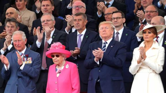 Queen Elizabeth II (center) is seen with (from left) Prime Minister Theresa May, Prince Charles, US President Donald Trump and first lady Melania Trump at the D-Day commemorations Wednesday.