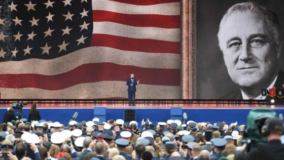 At a D-Day event held Wednesday, June 5, in Portsmouth, England, Trump reads a prayer that President Franklin D. Roosevelt gave over the radio on D-Day.