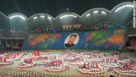 "A photograph taken by Koryo Tours from Tuesday's performance of North Korea's latest Mass Games, ""The Land of the People."""