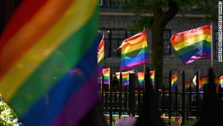 Rainbow flags are seen at the Stonewall National Monument, the first LGBTQ national monument, dedicated to the birthplace of modern lesbian, gay, bisexual, transgender, and queer civil rights movement on June 4, 2019 in New York City. - Pride Month 2019 marks The Stonewall 50th Anniversary. (Photo by Angela Weiss / AFP)        (Photo credit should read ANGELA WEISS/AFP/Getty Images)