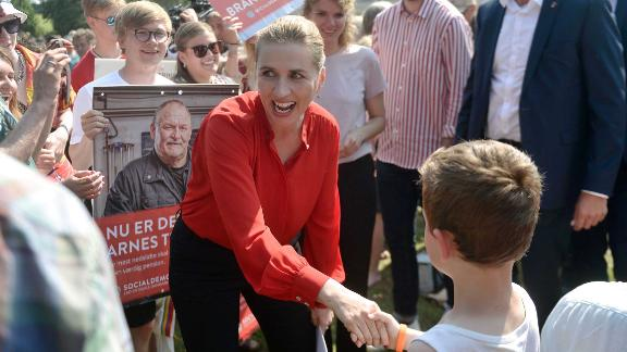 Danish opposition leader Mette Frederiksen of the Social Democrats shakes hands as she arrives at Ollerup, Denmark, to deliver a speech on the Danish Day of the Constitution which coincides with the Danish general elections on June 5, 2019. - Danes went to the polls in an election the opposition left is slated to win, after a campaign where immigration issues have taken a backseat for the first time in 20 years. (Photo by Tim K. Jensen / Ritzau Scanpix / AFP) / Denmark OUT        (Photo credit should read TIM K. JENSEN/AFP/Getty Images)