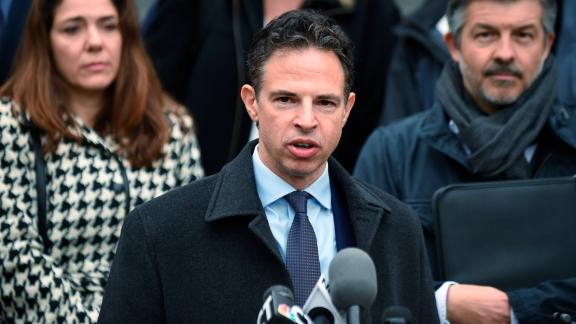 Attorney Josh Koskoff addresses the media after presenting arguments before the state Supreme Court in a lawsuit against Remington Arms in Hartford, Conn., Tuesday, Nov. 14, 2017.   A survivor and relatives of nine people killed in the shooting are trying to sue Remington Arms, the North Carolina company that made the AR-15-style rifle used to kill 20 first-graders and six educators at Sandy Hook Elementary School. A lower court dismissed the lawsuit.  (Cloe Poisson/The Courant via AP)