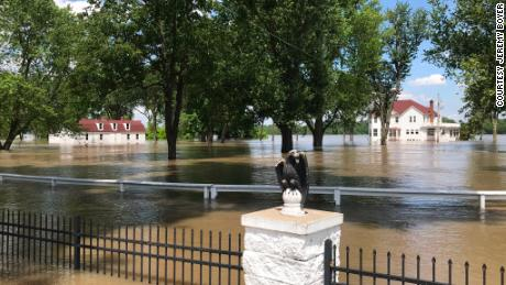 The grounds of the historic Anheuser Estate were covered in water Wednesday.