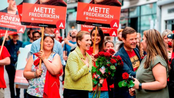 Mette Frederiksen meeting with voters in Aalborg, Denmark during her election campaign.