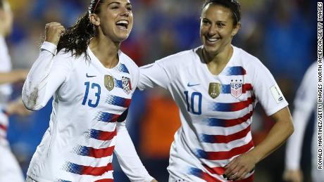 FRISCO, TX - OCTOBER 17:  Alex Morgan #13 and Carli Lloyd #10 of the United States during the CONCACAF Women's Championship final match at Toyota Stadium on October 17, 2018 in Frisco, Texas.  (Photo by Ronald Martinez/Getty Images)