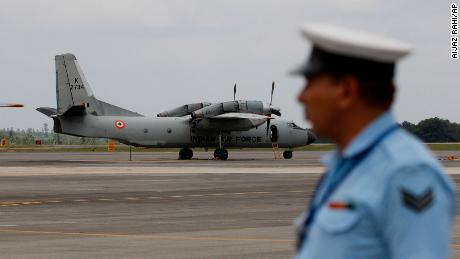 An Indian Air Force (IAF) AN-32 aircraft stands on the tarmac of Yelahanka air base ahead of Air Force Day celebrations in Bangalore, India, in this file photograph from 2015