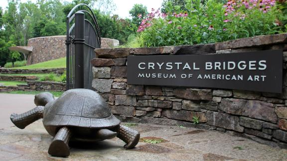 The Crystal Bridges Museum of American Art, founded by Alice Walton, in Bentonville.