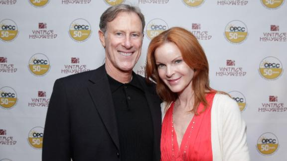 BEVERLY HILLS, CA - JUNE 09:   (EXCLUSIVE COVERAGE)  Husband Tom Mahoney and Actress Marcia Cross attends the Vintage Hollywood Fundraiser for Ocean Park Community Center at David Arquette's home on June 9, 2012 in Beverly Hills, California.  (Photo by Tiffany Rose/WireImage)