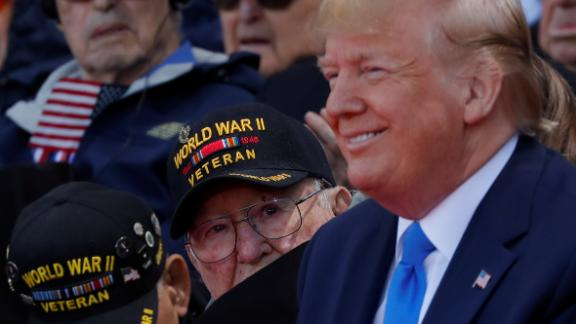 A World War II veteran looks over Trump