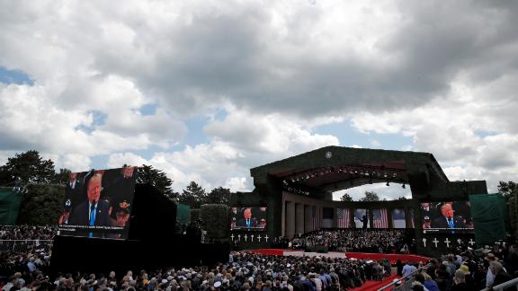 Trump addresses the commemoration ceremony in France.
