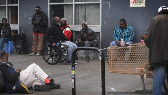 Homeless people gather on the streets of Skid Row near downtown Los Angeles on March 1. A lack of affordable housing in the city is the primary factor driving the spike in homelessness, according to Mayor Eric Garcetti.