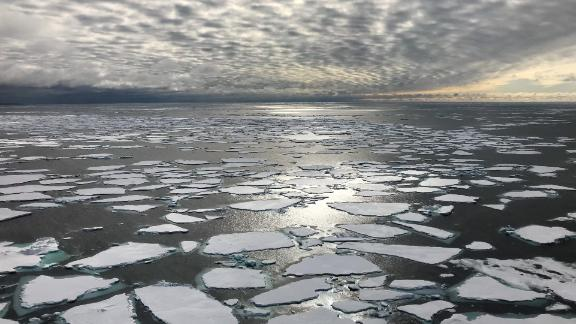 Fragmented sea ice leaves the Arctic between Greenland and Svalbard, Norway.