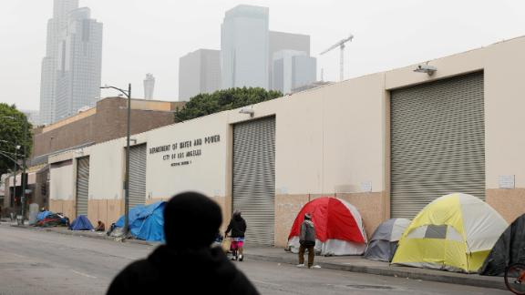 Tents and tarps erected by homeless people are shown along the sidewalks in Skid Row on June 4.