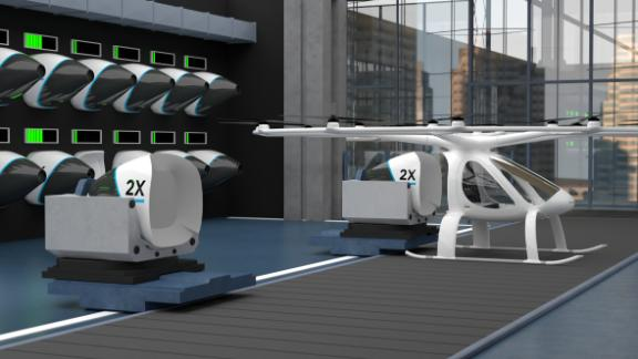The Volocopter is based on drone technology and the batteries will be swapped by robots before continuing each journey.