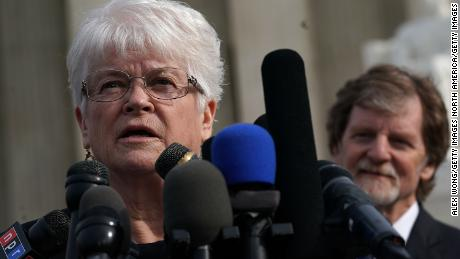 WASHINGTON, DC - DECEMBER 05:  Floral artist Barronelle Stutzman (L) speaks to members of the media in front of the U.S. Supreme Court as cake artist Jack Phillips (R) looks on December 5, 2017 in Washington, DC. The Supreme Court heard oral arguments in the Masterpiece Cakeshop v. Colorado Civil Rights Commission case.  (Photo by Alex Wong/Getty Images)