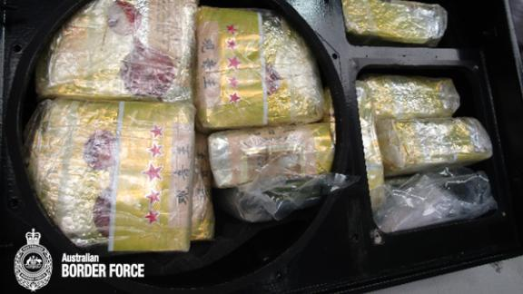 The drugs were discovered in vacuumed-sealed packages concealed in a shipment of stereo speakers from Thailand.