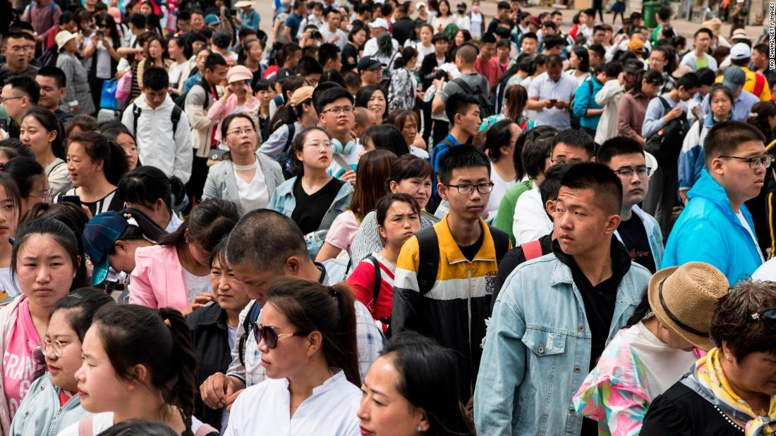 "Students wait for a ""gaokao train"" at Dayangshu Station in Inner Mongolia on June 5, 2019."