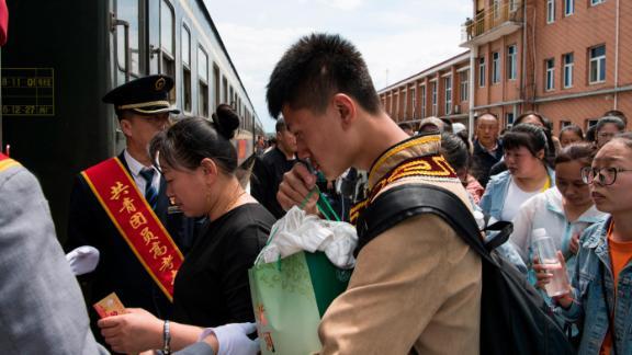 "Students board a ""gaokao train"" in Inner Mongolia on June 5, 2019."
