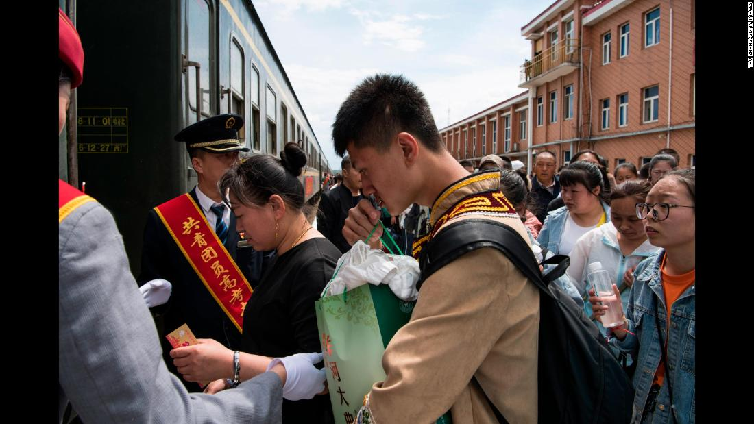 "Students board a ""gaokao train"" in Inner Mongolia on June 5, 2019."