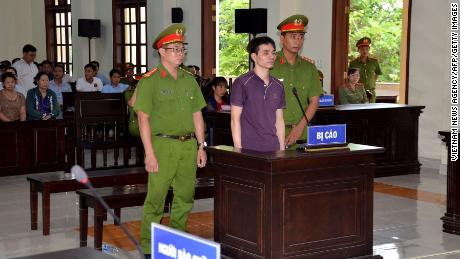 Blogger Nguyen Ngoc Anh, pictured during his trial, was sentenced to 6 years in prison and 5 years' house arrest.